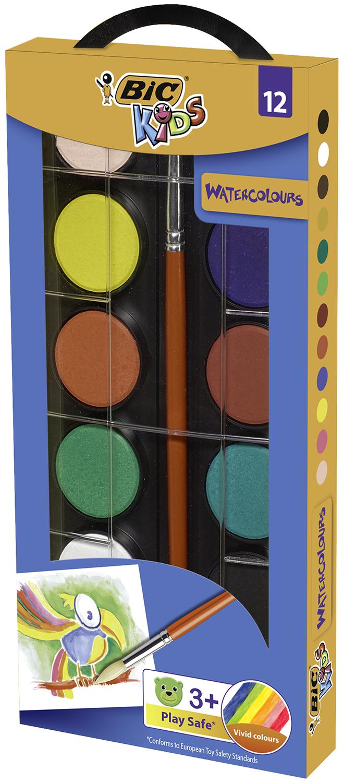 Акварельные краски 12 цветов, пласт./кор., с кисточкой