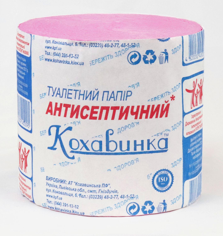 Бумага туал. макул., без гильзы, антисептическая, розовый  КОХАВИНКА