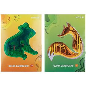 Картон цветной KITE А4, 10 листов, 10 цветов