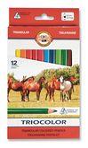 "Карандаши цветные Triocolor Jumbo ""Horses"", 12 цветов (3142)"